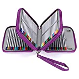 BTSKY Zippered Pencil Case-Canvas 72 Slots Handy Pencil Holders for for Prismacolor Watercolor Pencils, Crayola Colored Pencils, Marco Pencils (Purple)