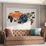 Mappa del Mondo Orologio da Parete Orologio Decorativo Appeso Decorazione Moderna di Arte della Parete per Home Office Cafe Hotel Dimensioni (Senza Batterie)