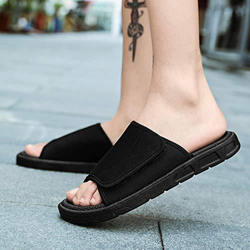 LLRR Sandalias ortopédicas para mujer, zapatos de rehabilitación de diabetes ajustables, pegatinas mágicas, zapatos de playa negro_UK8.5, zapatos de piscina de tobogán de playa