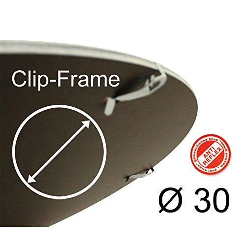 Ronde fotolijst met frameloze fotolijst 30 cm Polystyreenglas antireflex