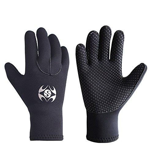 Diving Gloves Neoprene, Wetsuits Five Finger Gloves, 3MM Anti Slip Flexible Thermal Material for Snorkeling Swimming Surfing Sailing Kayaking Diving (S)