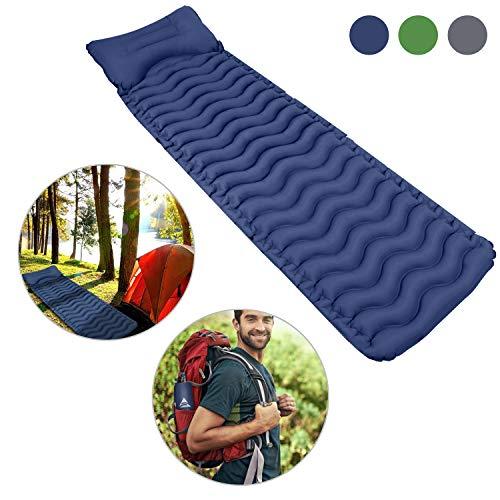Outivity Camping Isomatte,Ultraleicht Isomatte Aufblasbare Isomatte Luftmatratze Kleines Packmaß Schlafmatte für Camping,Outdoor,Wandern,Strand - Vergrößern Größe (205cm * 65cm * 6cm)(Blau)