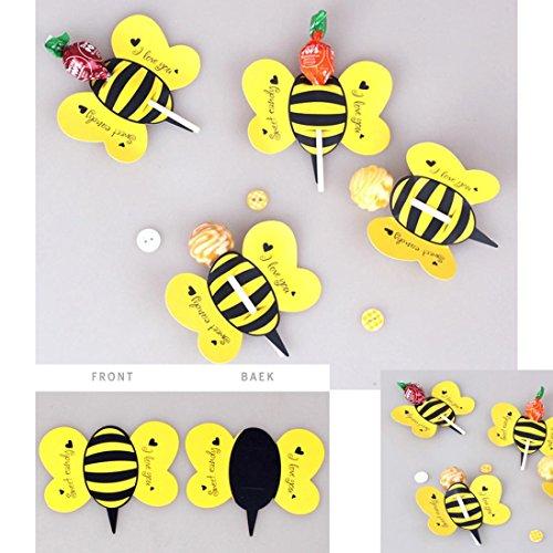 50 stücke Süßigkeiten Schokolade Lutscher Sticks Dekoration Papier Upxiang DIY Nettes Insekt Papier Xmas Party Kuchen Dekor (Biene)