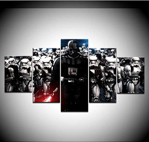 Samorou Wandkunstwerk Bild Star War Darth Vader Helm Filmplakat 5 Panels Modular Canvas Painting Home Decor - Style-1 Rahmenlos