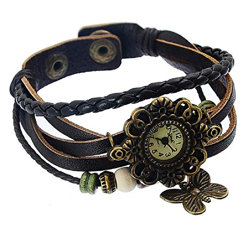 Souarts Brown Weave Wrap Artificial Leather Strap Bracelet Watch with Butterfly Charm