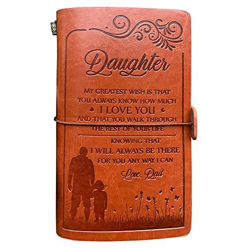 """Notizbuch aus Leder für """"Meine Tochter"""" , 120 Seiten, Reisetagebuch, Notizbuch, Skizzenbuch, Schulabschluss-/Schulanfangsgeschenk für Mädchen (von einem Vater für seine Tochter - größter Wunsch)"""