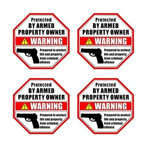 """eSplanade PROTECTED BY ARMED PROPERTY OWNER - Gun Handgun Warning Signs (4 Pack) Size 3.5"""" X 3.5"""" - Home Business Window Door Alert Sticker Decals"""
