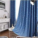 TLTL Cortina pronta para Uso na Cor Azul para Sala de Estar Cortina para Quarto para varanda Cozinha Cortinas Transparentes 55' W x 69' H(140x175cm)