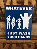 Woman, Alien, Bear バスルームサイン Whatever Just Wash Your Hands (ブルー)