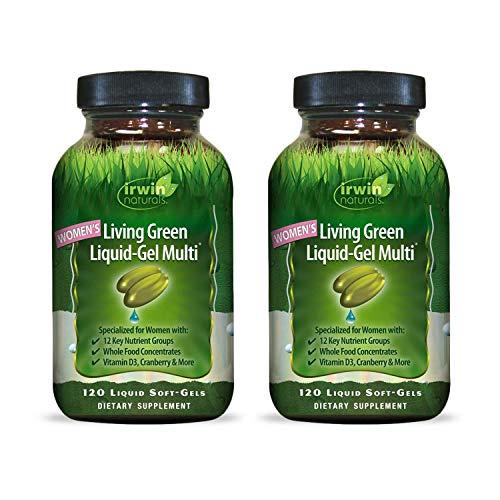 Irwin Naturals Womens Living Green Liquid-Gel Multi Vitamin - 70 Essential Nutrients, Full-Spectrum Vitamins, Wholefood Blend - Targeted Adrenal & Brain Support - 120 Liquid Softgels (2 Pack)