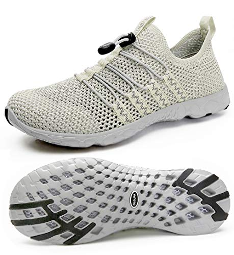 DLGJPA Men's Quick Drying Water Shoes for Beach or Water Sports Lightweight Slip On Walking Shoes Apricot