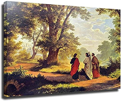 HHLSS Obra de Arte Pintura 50x60cm sin Marco El Cristo resucitado Camina con Dos Hombres en el Camino a Emaús Póster Dios Jesús Arte de la Pared Imágenes Decoración