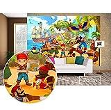GREAT ART Fototapete Kinderzimmer – Piraten – Wandbild Dekoration Piratenschiff Abenteuer...