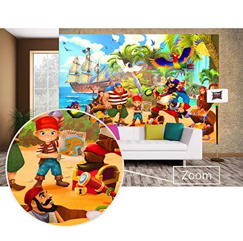 GREAT ART Fototapete Kinderzimmer – Piraten – Wandbild Dekoration Piratenschiff Abenteuer Schatzsuche...