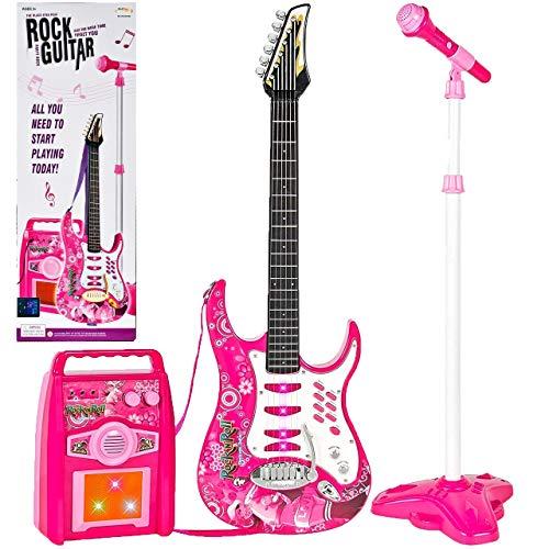 MalPlay Gitarre , Verstärker, verstellbare Stativ und Mikrofon | Elektronische Rock Musikinstrument für Mädchen | Geschenk für Kleinkind , Kinder ab 3 Jahren