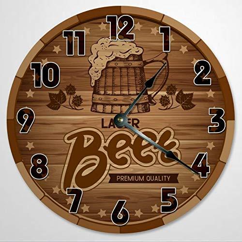 Reloj de pared con diseño de cerveza de 30,5 cm, reloj de pared redondo, barril, ataúd, madera rústica, 12 pulgadas, funciona con pilas, decoración de pared de granja, decoración del hogar