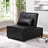 Alapaste Folding Ottoman Sofa Bed,4 in 1 Multi-Function Folding Ottoman Bench,Adjustable Sleeper Guest Bed Convertible Chair,Faux Leather Sofa Chair,Black