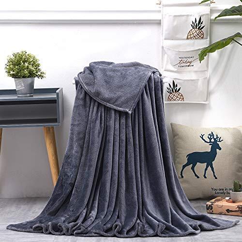 KEITE Mantas para Sofa de Franela,Manta para Cama 90 Reversible de 100% Microfibre Extra Suave,Manta Transpirable (Gris, 150 x 200 cm)