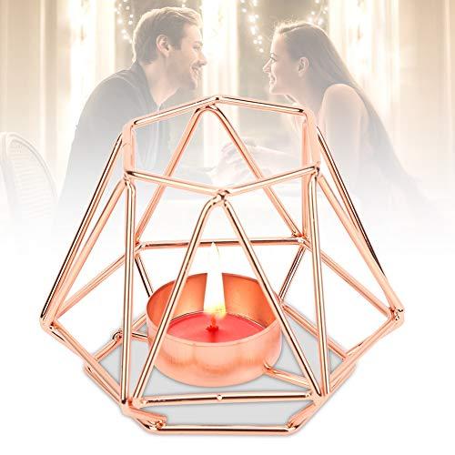 Kerzenhalter für Kerzenhalter, Teelicht-Kerzenhalter, geometrischer Kerzenhalter, hitzebeständiger Kerzenhalter für Jubiläumshochzeitszwecke für die(Rose gold trumpet)
