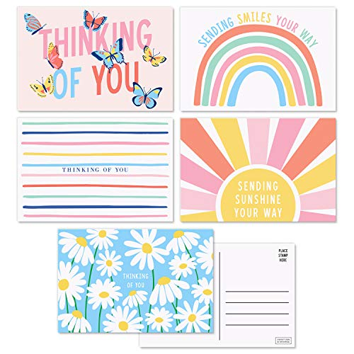 Sweetzer & Orange Thinking of You Postcards Pack (60 Post Cards) 4x6 Postcards for Kids and Adults. Assorted Blank Thinking of You Cards, Sympathy Cards, Greeting Cards. 300gsm Note Cards