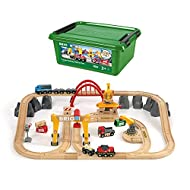 BRIO 33097 Cargo Railway Deluxe Set   54 Piece Train Toy with Accessories and Wooden Tracks for Kids Age 3 and Up,Multi