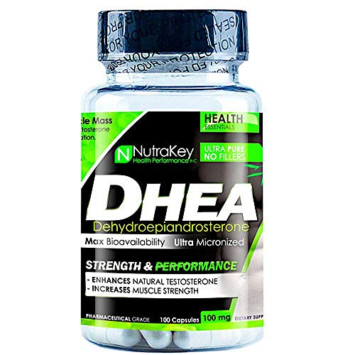 NutraKey Natural Dhea Supplement - Promotes Muscular Strength and Natural Testosterone Production - Effective for Men and Women - 100 Capsules x 100mg