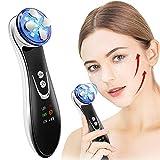 Ultrasonique LED Lumière Appareil de Beauté Mésothérapie de Appareil de Massage du Visage avec USB Rechargeable Anti Rides Anti-âge Acné Serrage Rajeunissement avec Fonction ION