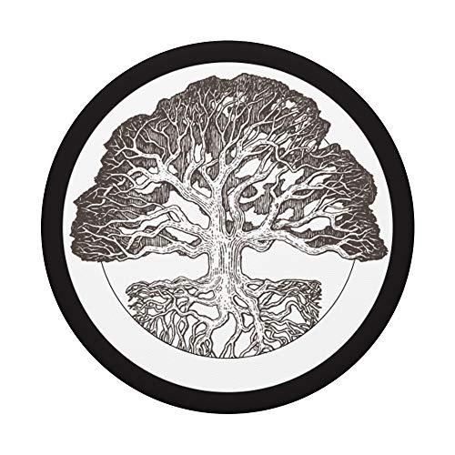 Unique Black & White Tree Roots Pencil Art PACJ0800 PopSockets PopGrip: Ausziehbarer Sockel und Griff für Handys/Tablets mit Tauschbarem Top