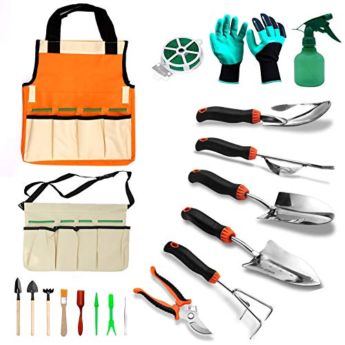 SUDUN 10 Pcs Garden Tool Set, Stainless Steel Heavy-Duty Gardening Tool Set and Tool Storage Bag Ergonomic Non-Slip Handle Gardening Hand Tool Set with Mini Tool Set Unisex for Courtyard Garden