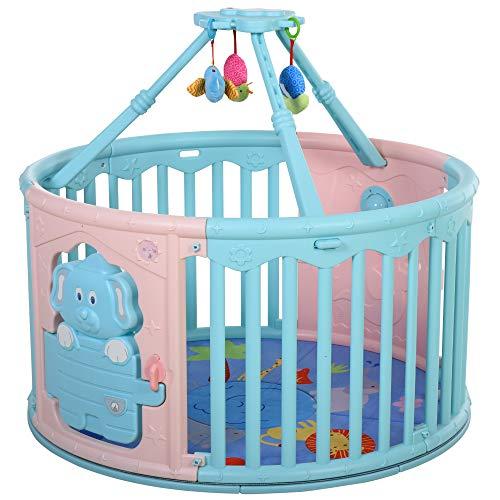 HOMCOM Parque Infantil Redondo Corralito de Seguridad para Bebé Cuna con Alfombra de...