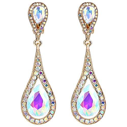 EVER FAITH Damen Österreichische Kristall Double Tropfen Clip-on Dangle Ohrringe Iridescent Klar AB Gold-Ton