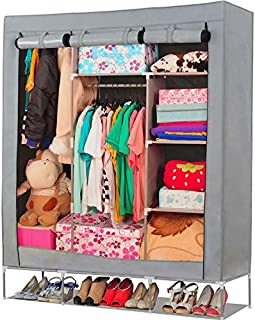 OUMYJIA 69 inches Portable Closet Organizer Wardrobe Storage Organizer, 51L x 17.5W x 69H inches, Grey
