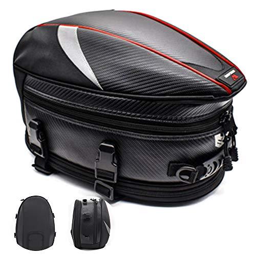 PU Leder Motorrad Rückentasche - Motorrad Rücksitz Satteltasche mit Reflexstreifen, wasserdichte Motorrad-Hecktasche