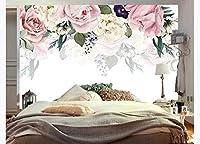 写真の壁紙3D水彩花背景塗装壁リビングルームソファテレビ壁寝室の壁紙-130x60cm