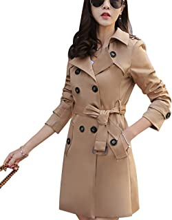 Women Slim Fit Lapel Mid-Length Trench Coat Jacket Double Breasted Outwear with Belt S-5XL