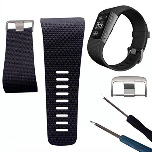 Geshiglobal Ersatz-Armband, weiches Silikon, Gurt mit Schnalle, Werkzeuge, für Fitbit Surge, Schwarz , S