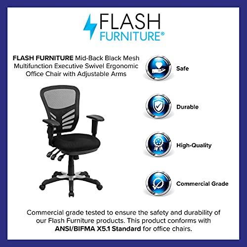 Flash Furniture Mid-Back Black Mesh Multifunction