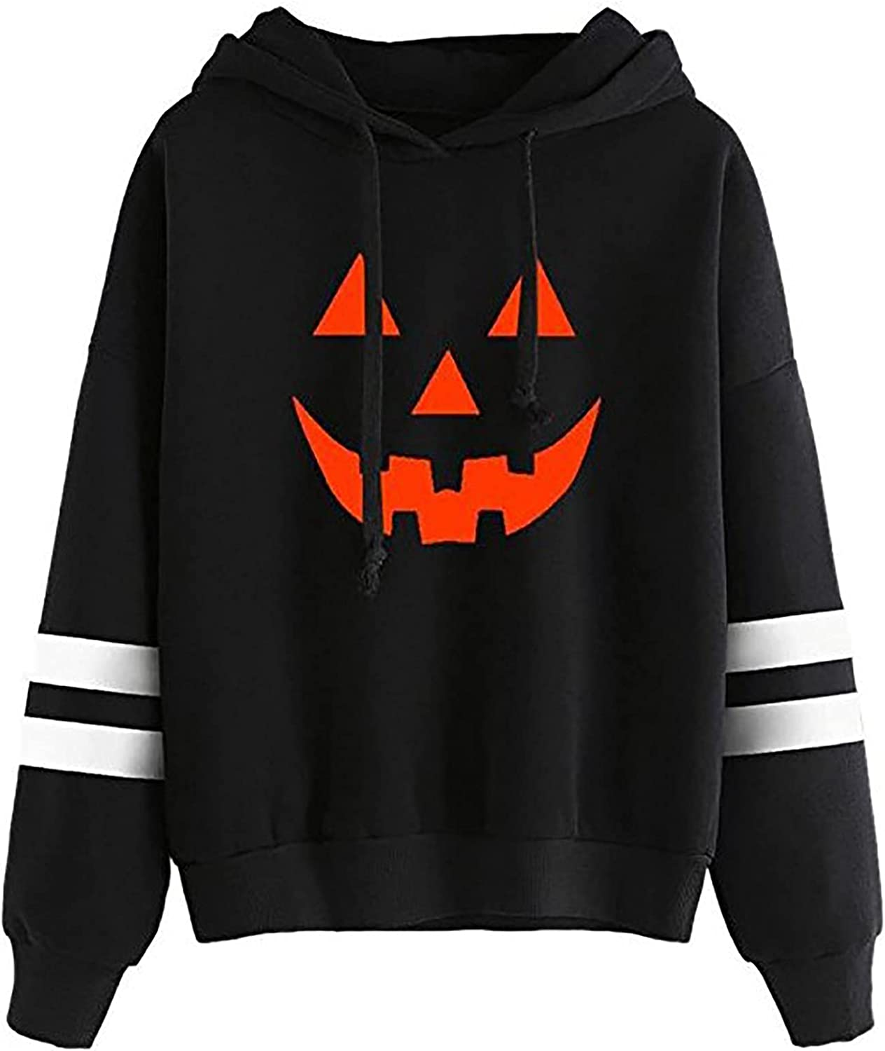 Hooded Blouse for Womens Funny Halloween Pumpkin Face Graphic Sweatshirt Color Block Drawstring Tunic Pullover Tops