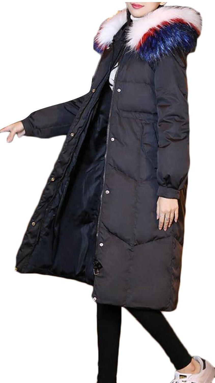 Desolateness Womens Hooded Parkas Puffer Jacket Warm Winter Faux Fur Long Coats