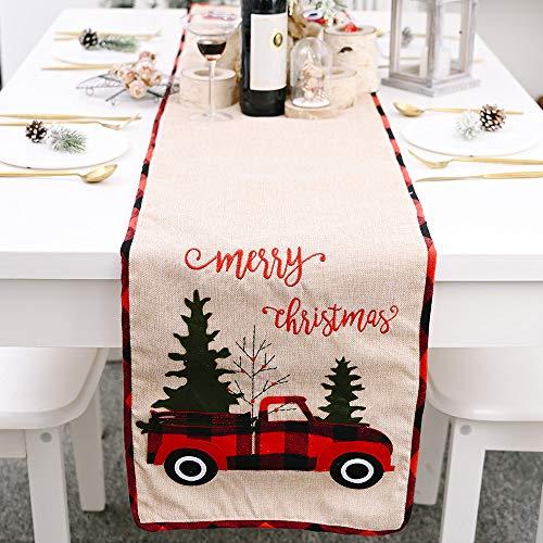Enmolove Christmas Table Runner,Plaid Table Runner for Thanksgiving,Christmas,Daily Decoration (70.86''x13.78'',Car & Christmas Tree)