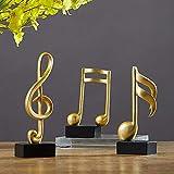 WWZYX Estatua Escultura Ornamentos Decorativos Figura,3 Set Música Canciones Sonido Notas Adornos Símbolo Musical Estatua Figuras Dormitorio Decoración de Oficina Gabinete de TV