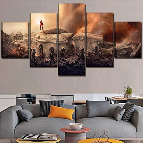 HOMOPK 5 Canvas foto foto's film games 5-delig muurschildering achtergrond schilderen behang druk poster keuken decor poster gift 20x35cmx2 20x45cmx2 20x55cmx1 Rahmen.
