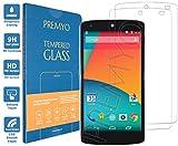 PREMYO 2 Piezas Cristal Templado Protector de Pantalla Compatible con Nexus 5 Dureza 9H Bordes 2,5D Sin Burbujas contra Arañazos