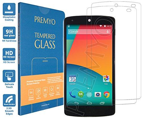 PREMYO 2 Stück Panzerglas Schutzglas Displayschutzfolie Folie kompatibel für Nexus 5 Blasenfrei HD-Klar 9H 2,5D Gegen Kratzer Fingerabdrücke