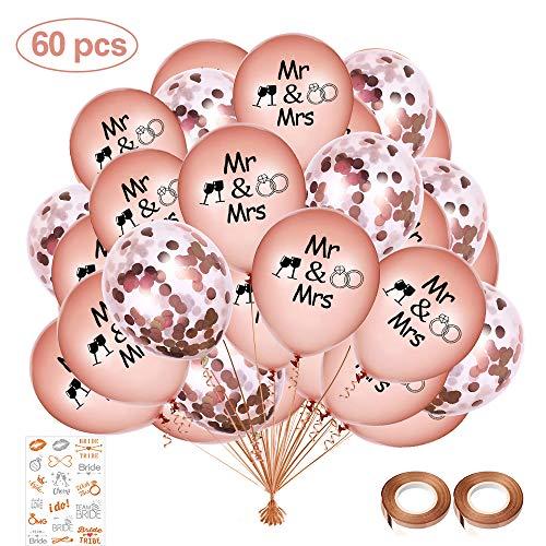 SPECOOL Rose Gold Ballons,60 Stück Latex-Luftballons Roségold Konfetti-Luftballons für Hochzeit und Geburtstag Party Dekorationen,Hochzeiten, Geburtstage, Brautgeschenke, Valentinstag