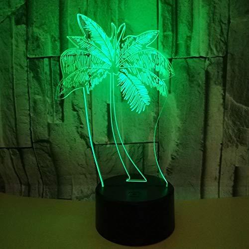 LG Snow Lámparas Árboles De Palma De Coco 3D Lámpara De Escritorio USB Estéreo Luz De Noche LED Colorido Toque Gradiente De La Cabecera del Escritorio Remoto De Cumpleaños con Imaginación Regalo De V