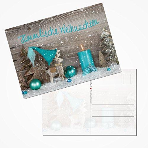 10 stuks kerstkaartenset ansichtkaarten HIMMLISCHE KERSTEN TEXT kaars turquoise grijs wit rendier hert shabby chic 14,8 x 10,5 cm kaarten klein