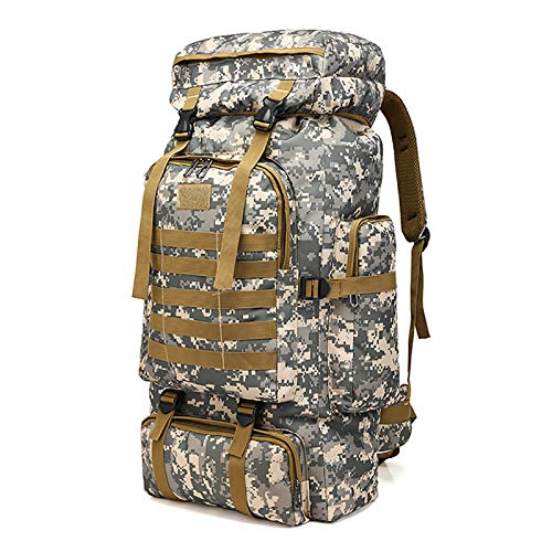 WintMing 70L Large Camping Hiking Backpack Tactical Military Molle Rucksack for Trekking Traveling Oxford Waterproof Mountaineering Pack Large Daypack for Men (Camouflag-B)