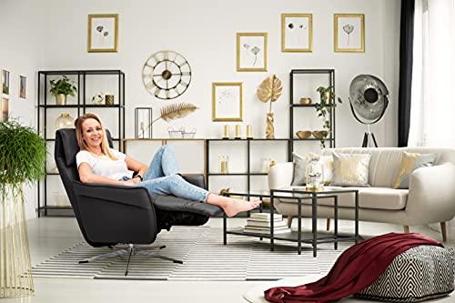 Scandico TV-Sessel Sessel Finn / Drehbarer Relax-Sessel mit stufenloser Rückenverstellung und ausklappbarem Fußteil / Herz-Waage-Position / 72 x 103 x 86 / Leder Schwarz