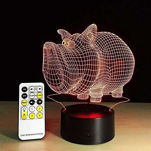 3D-LED-Nachtlicht Schwein, 5 V, USB, kreative Acryl-Tischlampe, Kinder, Freunde, Party, Dekoration, Geschenk, Fernbedienung, Touch-Steuerung, 7 Farben, Lampe mit Fernbedienung